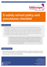E-Safety school policy and procedures checklist