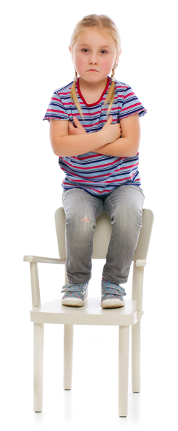 Upset blonde girl sitting on a high chair
